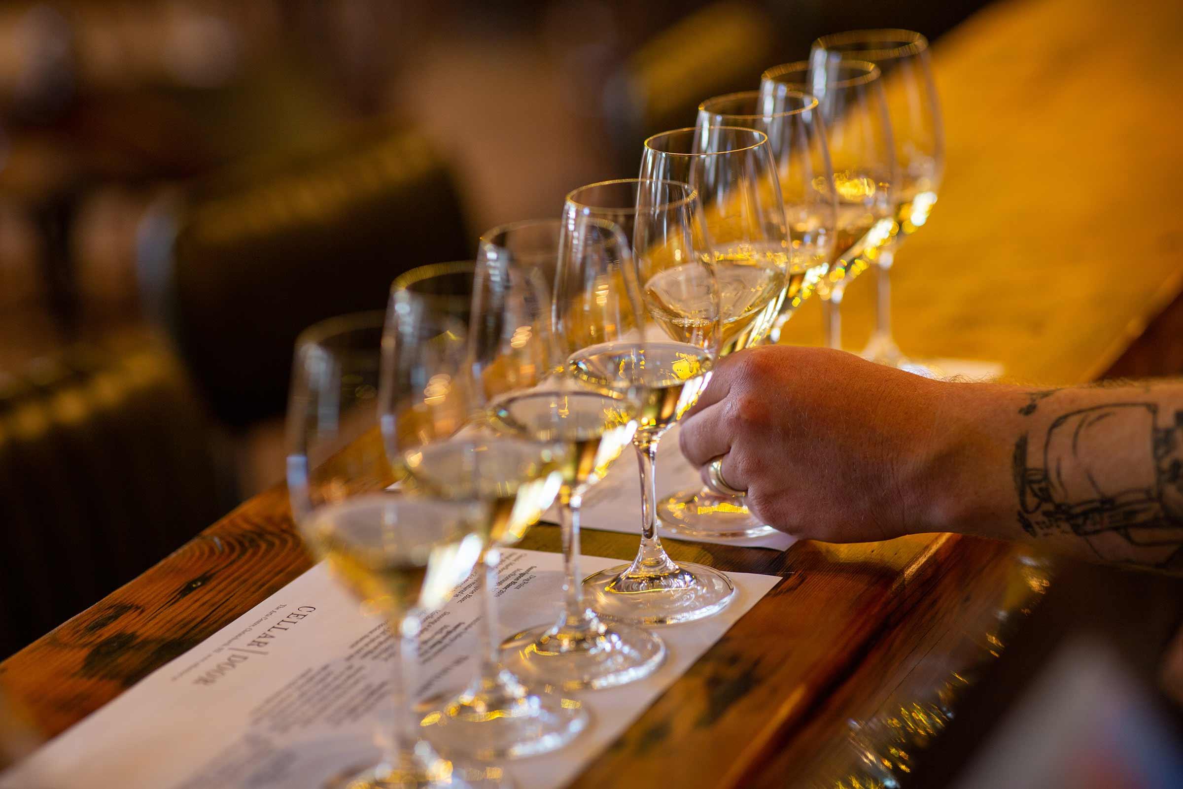White wine flights in Christchurch, NZ