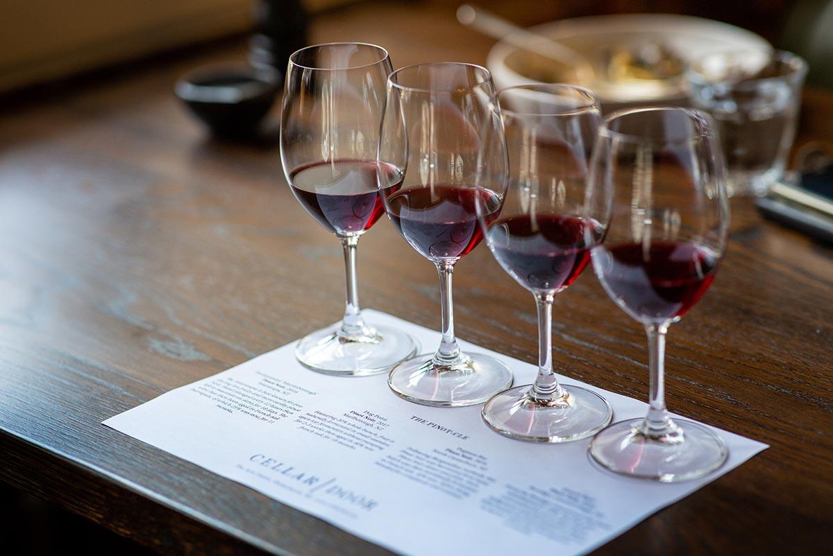 Wine flight of red wine